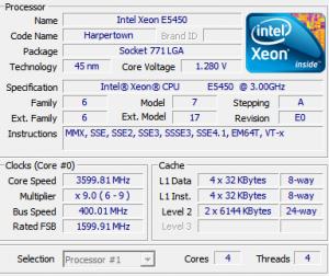 cpu-z xeon e5450 3600 mhz